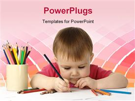 Cute child focused drawing on white paper powerpoint template