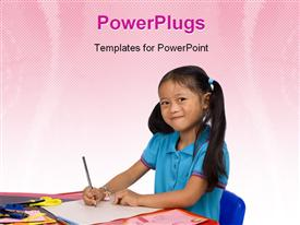 PowerPoint template displaying young girl paints a depiction. Family love bonding education