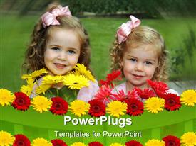 PowerPoint template displaying two little girls in landscape behind rows of colorful flowers