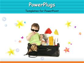 PowerPoint template displaying handsome baby boy wearing shades in a suit case