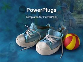 PowerPoint template displaying small blue and white sneakers with a red and yellow ball with children on background