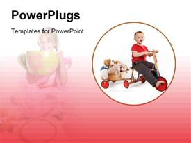 PowerPoint template displaying a kid playing with his toys with a kid in background