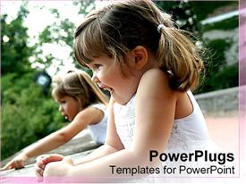 PowerPoint template displaying two happy girls laughing and pointing, children, kids