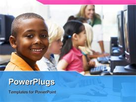 PowerPoint template displaying children At Computer Terminals With Teacher In Background in the background.