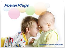 PowerPoint template displaying two little boys happily  playing on a white background