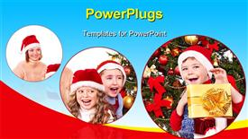 PowerPoint template displaying children with gift box near Christmas tree