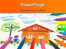PowerPoint template displaying child drawing and pens - abstract art background