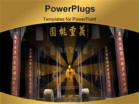 PowerPoint template displaying huge Liang Ancient Wuhou Memorial Three Kingdoms Temple Chengdu Sichuan China