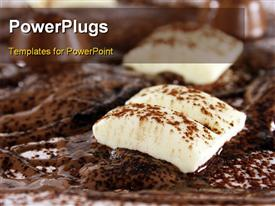 PowerPoint template displaying chocolate bonanza with white chocolate chunks melted chocolate and cocoa