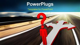 PowerPoint template displaying choices (high resolution 3D depiction for your design) in the background.