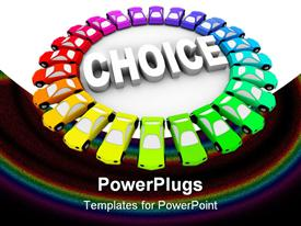 PowerPoint template displaying cars of many different colors in ring around the word Choice in the background.