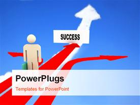 PowerPoint template displaying businessman on success path with other two arrows diverging