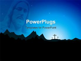 PowerPoint template displaying jesus with the crosses and mountains in background