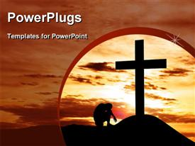 Dramatic sky scenery with a mountain cross and a man seated hopelessly under the cross template for powerpoint