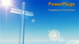 High resolution Christian cross over a beautiful sky powerpoint design layout