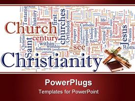 Word cloud concept Christian religion powerpoint design layout