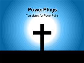 Christening cross in light template for powerpoint