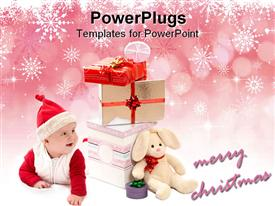 Baby and a lot of Christmas gifts powerpoint template