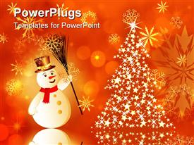 PowerPoint template displaying christmas theme with smiling snowman and shining Christmas tree made of bright stars and yellow glowing snowflakes on orange background