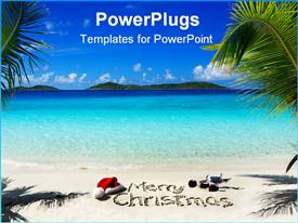 PowerPoint template displaying beautiful view beach merry Christmas text