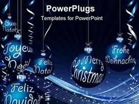 Blue Christmas card in six languages powerpoint design layout