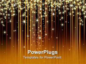 PowerPoint template displaying a number of glowing stars with brownish background