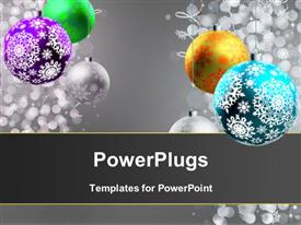 PowerPoint template displaying christmas depiction with beautiful ornaments hanging and snowflakes falling