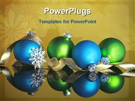 PowerPoint template displaying christmas theme with two blue and two green Christmas balls with golden ribbon and silver snowflake on snowflake khaki background