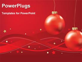 PowerPoint template displaying red christmas tree holiday ornaments on a red background