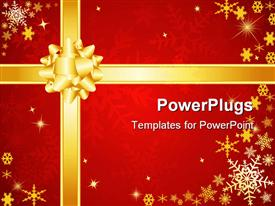 PowerPoint template displaying present background red gold bow