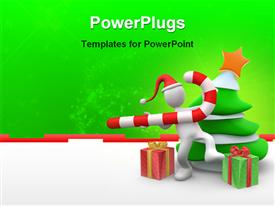 PowerPoint template displaying white figure wearing Santa hat holding candy cane next to Christmas tree and gifts