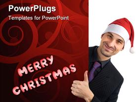 Christmas concept. Young businessman holding blank white card template for powerpoint