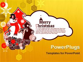 PowerPoint template displaying merry Christmas representation along with a snowman