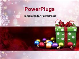 PowerPoint template displaying colorful Christmas ornaments, gift box and snowflakes falling