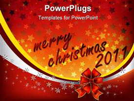 PowerPoint template displaying christmas greeting with red bow on stars background