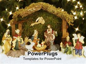 PowerPoint template displaying christmas nativity set under the Christmas tree