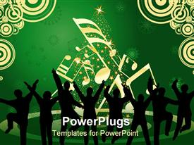 PowerPoint template displaying lots of people dancing happily on a green and white background