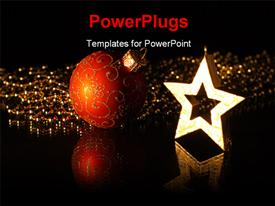 PowerPoint template displaying christmas-star and a red Christmas-bauble are reflected on black ground