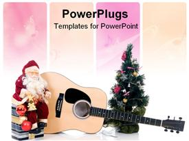 PowerPoint template displaying santa clause sitting on a gift box with a guitar and Christmas tree