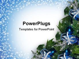 PowerPoint template displaying composition in Blue with ornament corner decoration