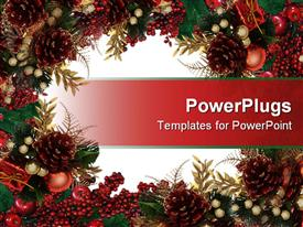 PowerPoint template displaying composition Christmas design with holly, pinecones, leaves, apples and berries