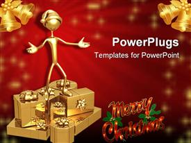 PowerPoint template displaying 3D golden figure wearing hat standing on top of golden gift boxes, pair of golden bells in top corners, and Merry Christmas words on red background