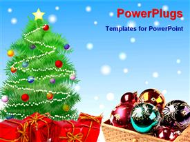 PowerPoint template displaying decorated Christmas tree on a snowy hill and gifts