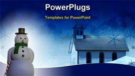 PowerPoint template displaying festive Christmas church snow scene