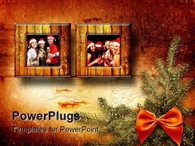 Festive invitation or greeting with fir tree and bow powerpoint design layout