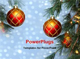 PowerPoint template displaying a Christmas celebration with lights in the background