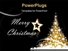 PowerPoint template displaying golden Christmas tree with Merry Christmas greetings in the background.
