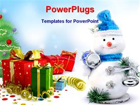 PowerPoint template displaying happy Christmas snowman toy with drum and bell and gifts