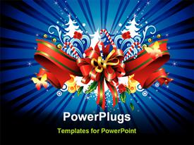 PowerPoint template displaying depiction card for Christmas and cool background