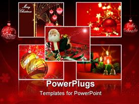 PowerPoint template displaying christmas collages with balloons and father christmas